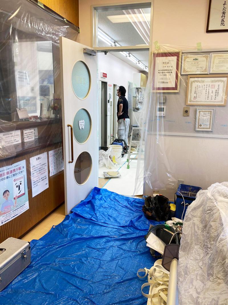 青森県三沢市プラズマレーザーシステム・除菌水・虫歯・歯周病・インビザライン治療(マウスピース型の矯正装置)の歯医者よしだ歯科医院は新しいレントゲンシステム導入のため工事中てす! 新しいレントゲン室の壁をこんな風にしました!